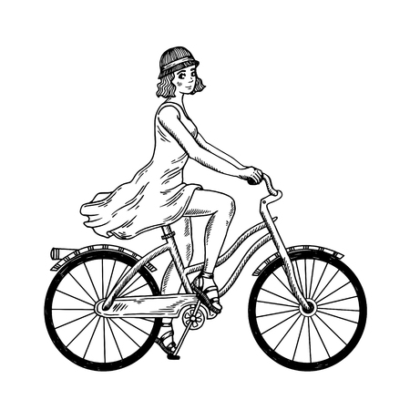 Young woman ride on bicycle engraving vector Ilustração