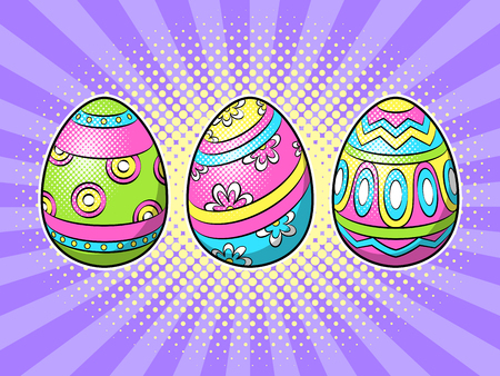 Easter decorated egg pop art retro vector illustration. Colored background in Comic book style imitation. 矢量图像