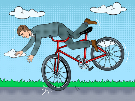 Man is falling off bicycle pop art retro vector illustration. Color background. Comic book style imitation.