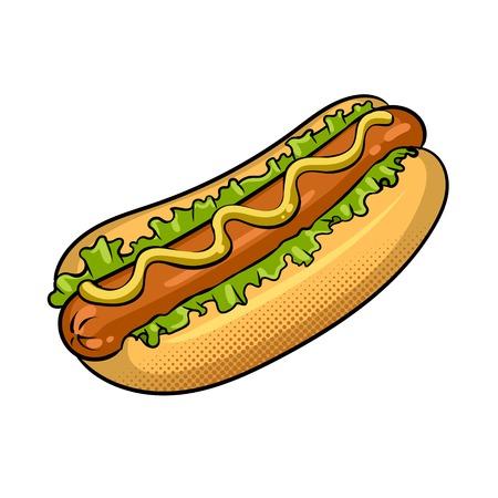 Hot dog pop art vector illustration