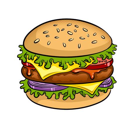 バーガーサンドイッチポップアートベクターイラスト  イラスト・ベクター素材
