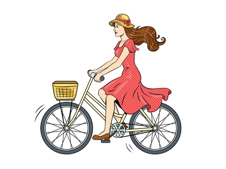 Young woman ride on bicycle pop art vector