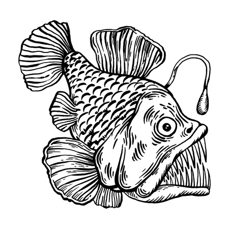 Deep water fish with lighter engraving vector illustration.