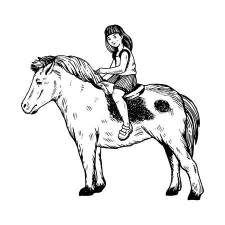 Child girl on pony engraving Illustration. Illustration