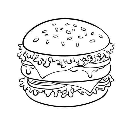 Burger sandwich coloring book vector