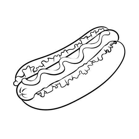 Hot dog coloring book vector illustration  イラスト・ベクター素材