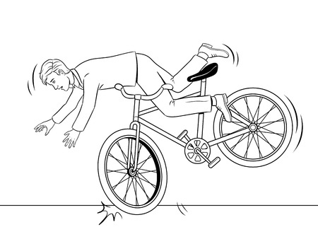 Man falling of bicycle coloring book vector Vettoriali