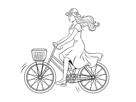 Young woman ride on bicycle coloring vector