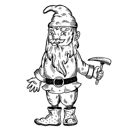 Gnome mythical creature engraving vector