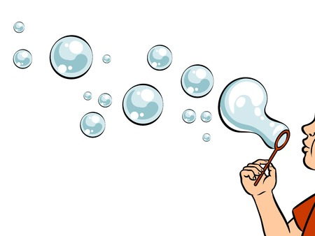 Blowing bubbles pop art vector illustration