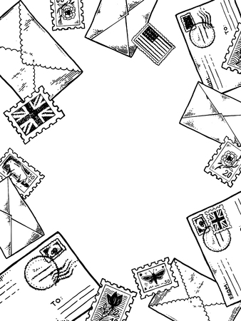 Post stamp envelopes engraving vector illustration 일러스트