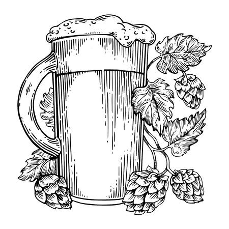 ビールとホップ植物彫刻ベクター
