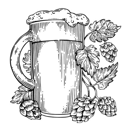 Beer and hops plant engraving vector Stock Vector - 98089684