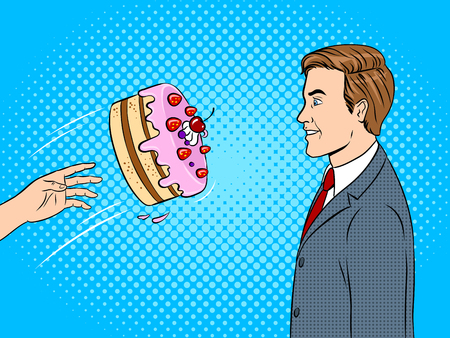 Cake is thrown in man face pop art retro vector illustration. Color background. Comic book style imitation.