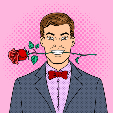Man with rose flower in teeth pop art retro vector illustration. Color background. Comic book style imitation.