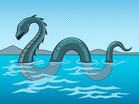 Loch Ness Monster fake underwater animal pop art retro vector illustration. Color background. Comic book style imitation.