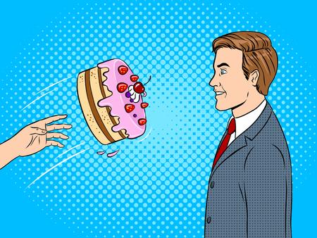 Cake is thrown in face pop art vector illustration
