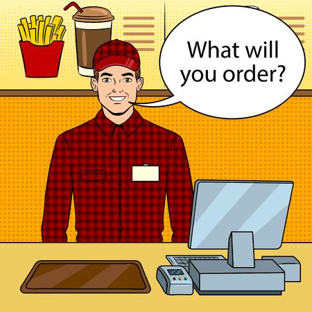 Fast food seller at work pop art vector