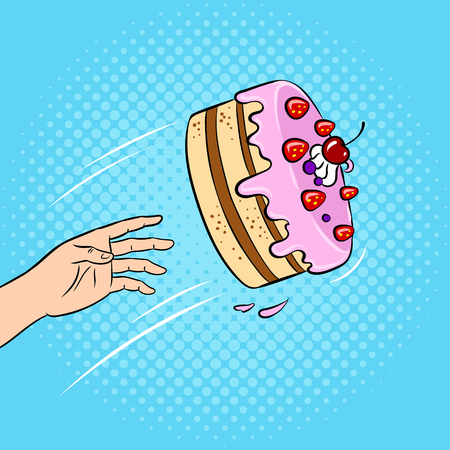 Comic book art style of throwing a cake in face on colored background illustration. Illusztráció