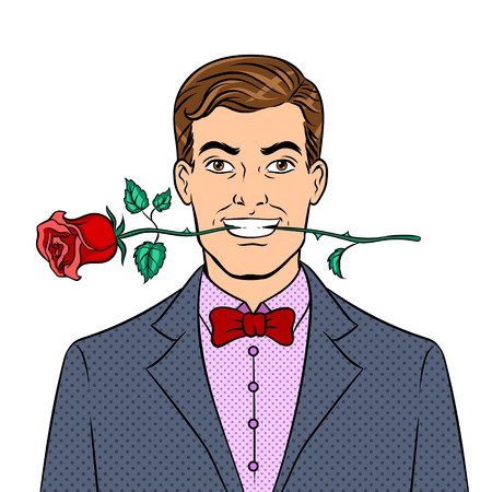 Man with rose flower in teeth pop art retro vector illustration. Isolated image on white background. Comic book style imitation. 向量圖像