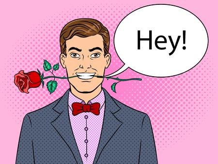 ●バラの花を持つ男が歯ポップアートレトロベクトルイラスト。テキストのバブル。色の背景。漫画本スタイルの模造。