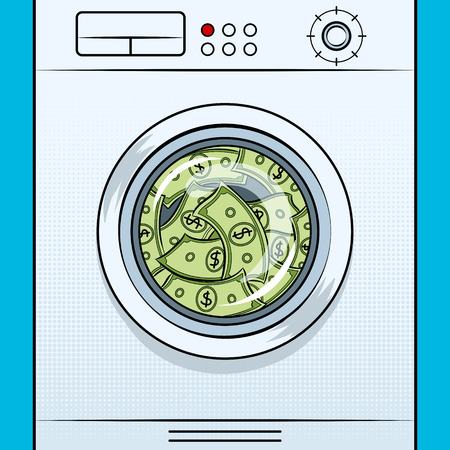 Washing machine laundering dollars pop art vector Imagens