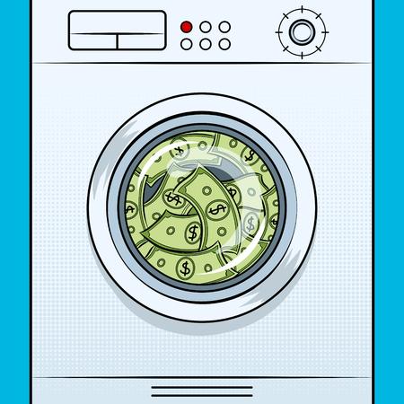 Washing machine image of laundering money pop art on isolated image in white background illustration. Vettoriali