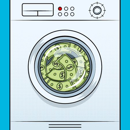 Washing machine image of laundering money pop art on isolated image in white background illustration. Stock Illustratie