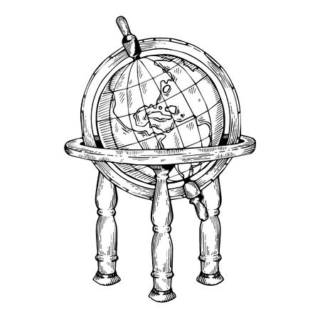 Vintage globe engraving vector illustration