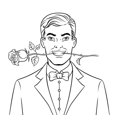 Man with rose flower coloring book vector Çizim