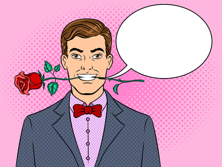 Man with rose flower in teeth pop art retro vector illustration. Text bubble. Color background. Comic book style imitation.