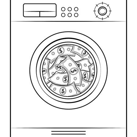 Washing machine laundering money coloring retro vector illustration. Isolated image on white background.