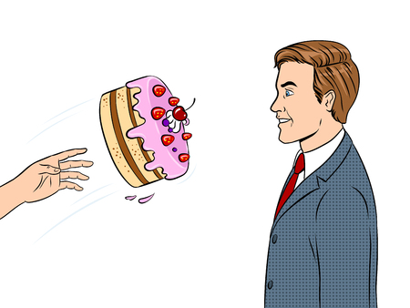 Cake is thrown in man face pop art retro vector illustration. Isolated image on white background comic book style imitation. Stock Illustratie
