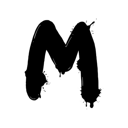 Blot letter M black and white vector illustration