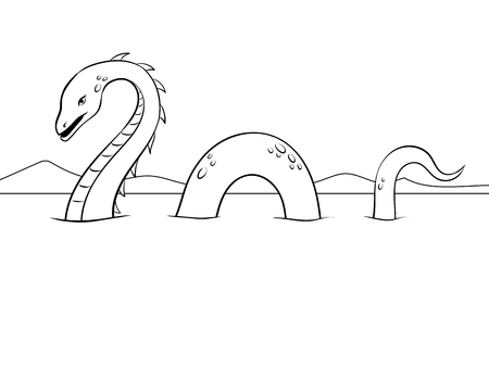 Nessie monster coloring vector illustration