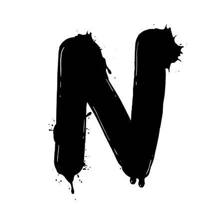 Blot letter N black and white vector illustration