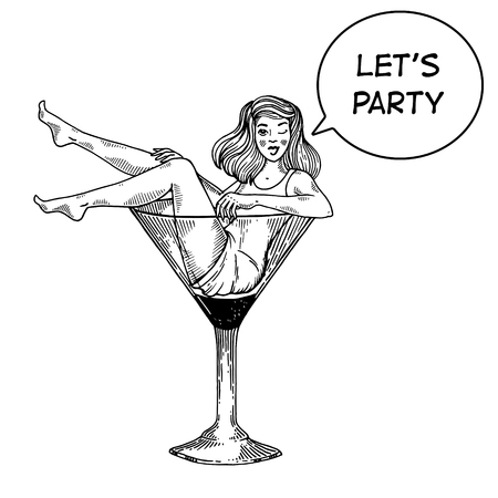 Young sexy beauty woman sit on high martini cocktail glass engraving vector illustration. Scratch board style imitation. Text bubble. Black and white hand drawn image. Иллюстрация