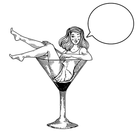 Young sexy beauty woman sit on high martini cocktail glass engraving vector illustration. Scratch board style imitation. Text bubble. Black and white hand drawn image. 일러스트