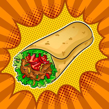 Burrito pop art vector illustration design. Illustration