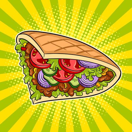 Doner kebab pop art vector illustration design. 일러스트