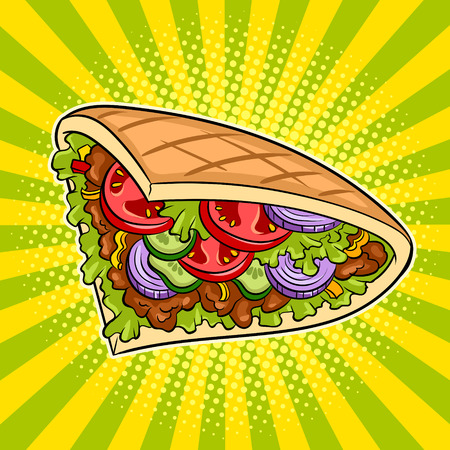 Doner kebab pop art vector illustration design. Иллюстрация