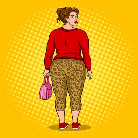Fat girl in leopard leggings pop art vector Stock Illustratie