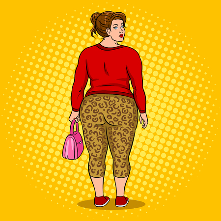 Fat girl in leopard leggings pop art vector Stock Illustratie