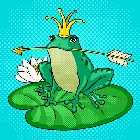 Princess Frog pop art vector illustration