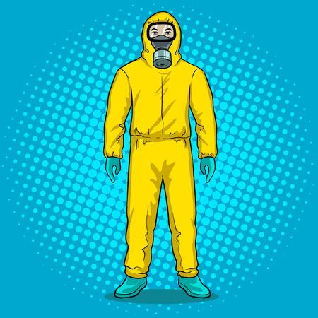 Man in protective hazard suit pop art vector illustration. Иллюстрация