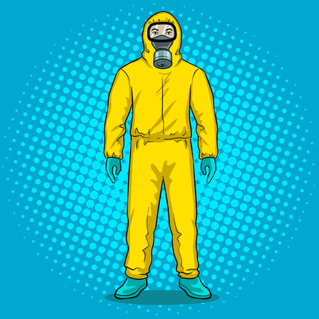 Man in protective hazard suit pop art vector illustration. Illustration