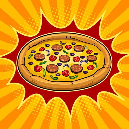 Round pizza pop art vector illustration