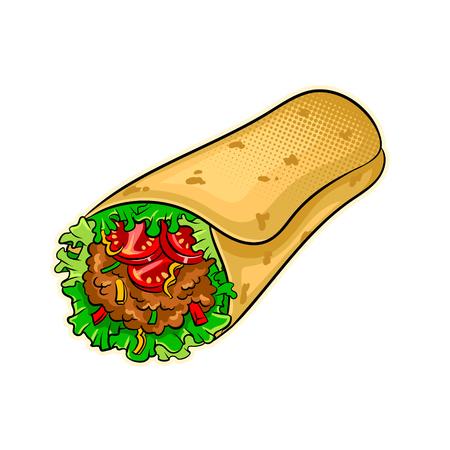 Burrito pop art vector illustration
