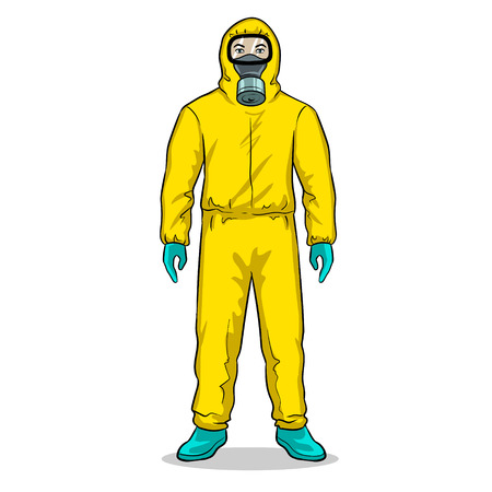 Man in protective hazard suit pop art vector Stock Photo
