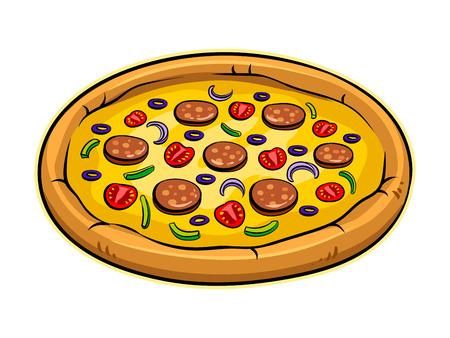 Pizza ronde pop art illustration vectorielle Banque d'images - 99011853